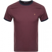 Product Image for Farah Vintage Groves Ringer T Shirt Burgundy